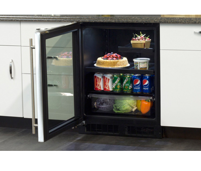 """Model: MA24BRG3RS   Marvel  Marvel 24"""" ADA Height Beverage Refrigerator- Stainless Frame, Glass Door With Lock Right Hinge"""