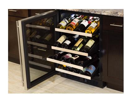 "Model: ML24WSG1RS | Marvel  Marvel 24"" High Efficiency Gallery Single Zone Wine Refrigerator Stainless Steel Frame Glass Door"