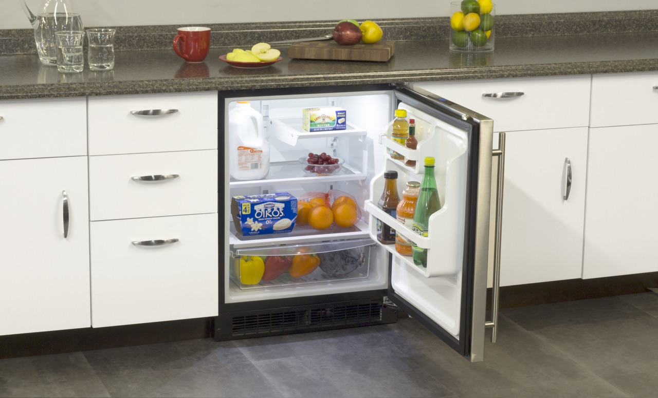 """Model: MA24RAS2RS   Marvel  Marvel 24"""" ADA Height All Refrigerator with Door Storage-Solid Stainless Steel Door with Lock RH"""