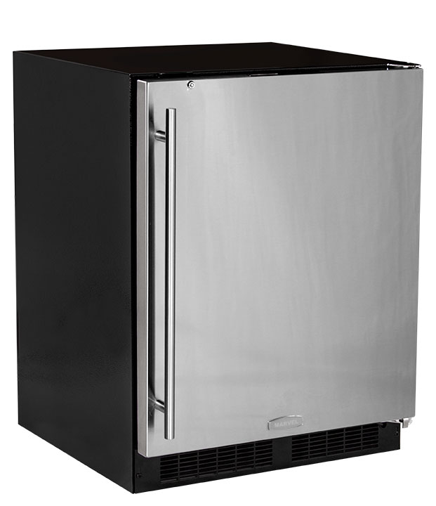 "Marvel  Marvel 24"" ADA Height All Refrigerator with Door Storage-Solid Stainless Steel Door with Lock LH"
