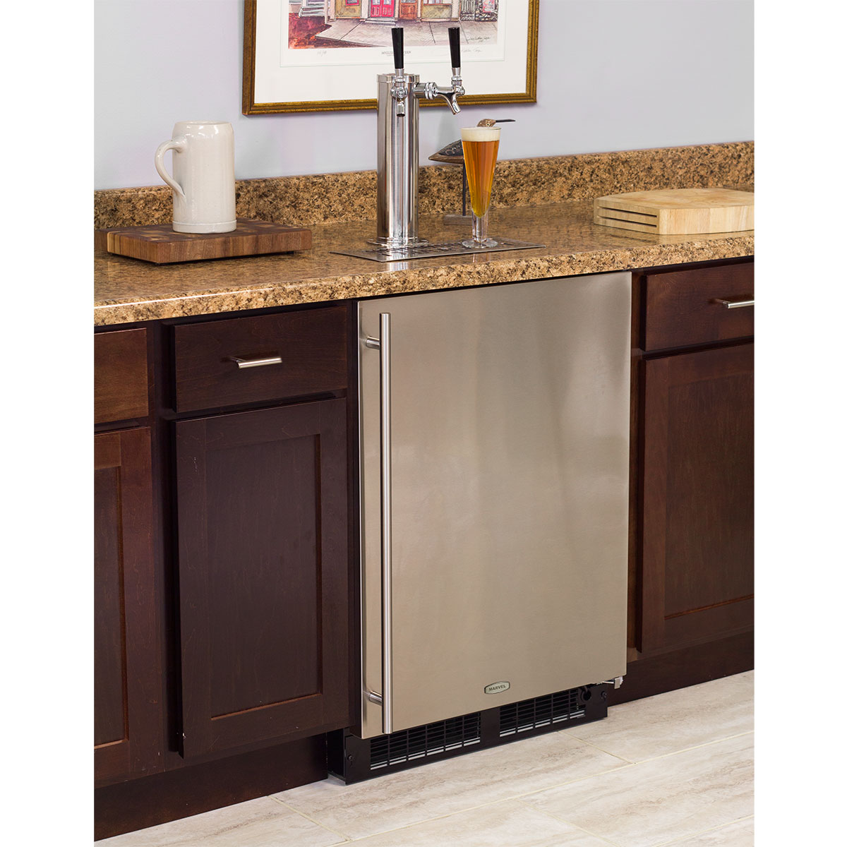 Marvel Built-In Indoor Twin Tap Beer Dispenser- Solid Panel Overlay Ready Door Integrated Right Hinge