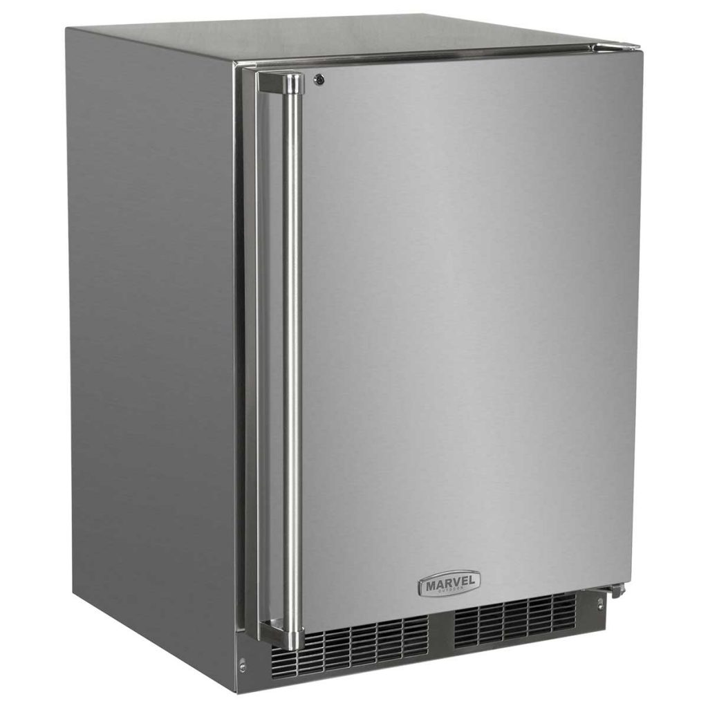 """Marvel  24"""" Marvel Outdoor Refrigerator with Door Storage-Solid Stainless Steel Door with Lock"""