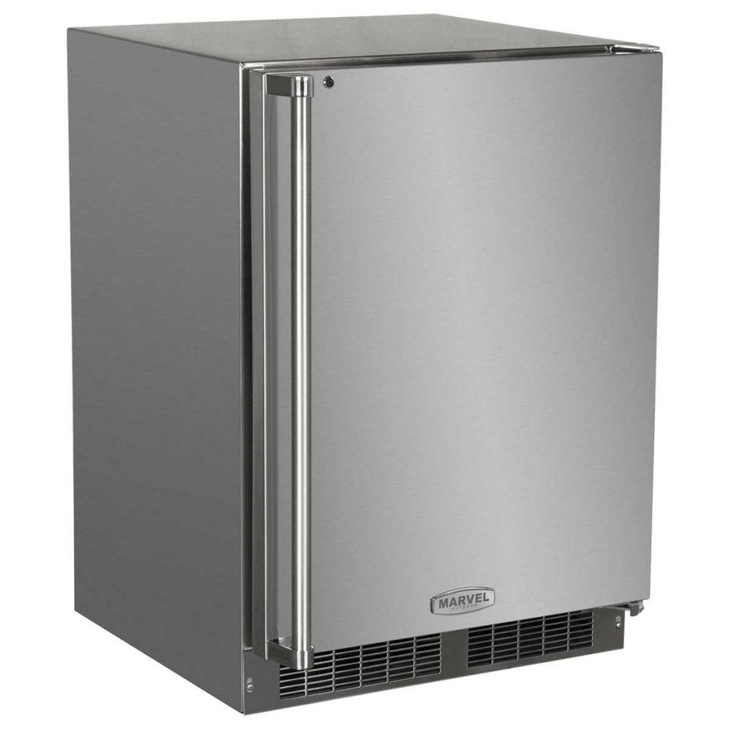 """Marvel  24"""" Marvel Outdoor Refrigerator-Solid Stainless Steel Door with Lock Left Hinge"""