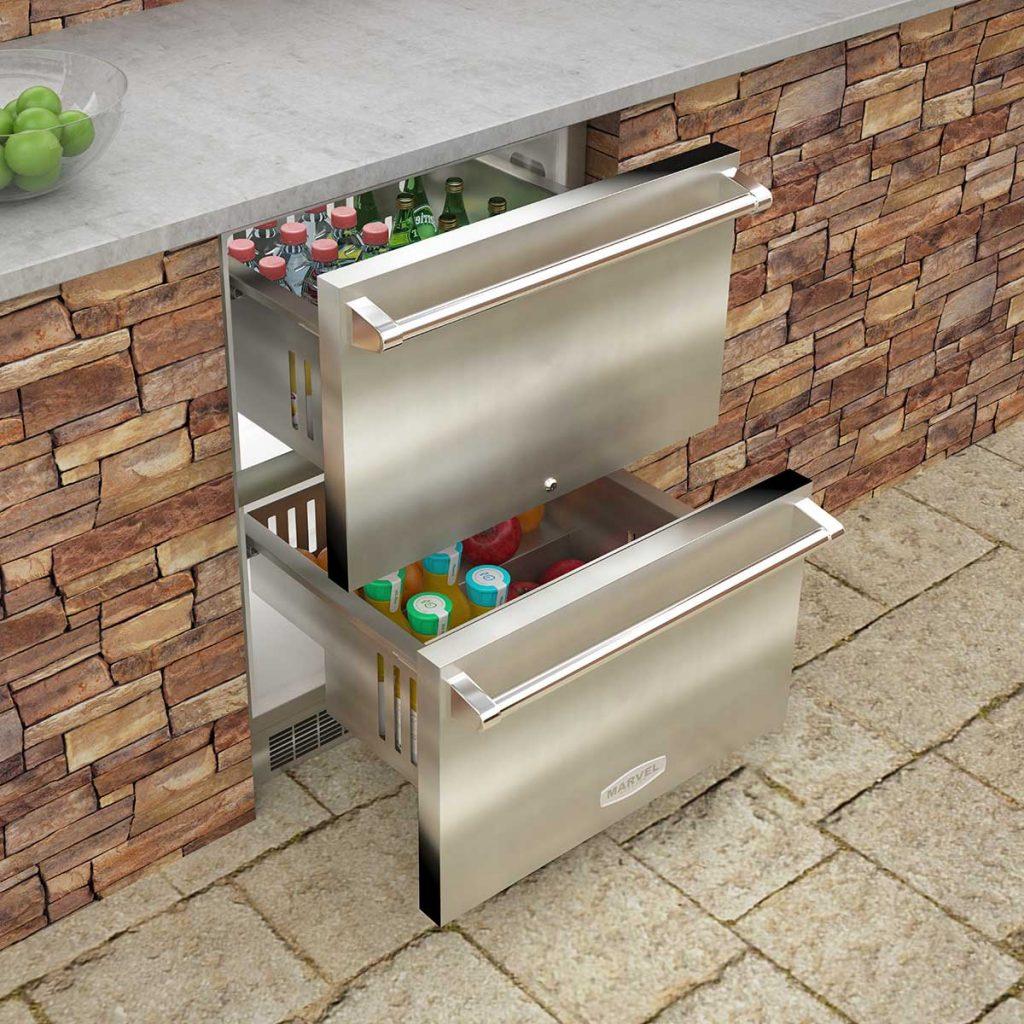 "Model: MO24RDS3NS | Marvel  24"" Marvel Outdoor Refrigerated Drawers-Solid Stainless With Lock"