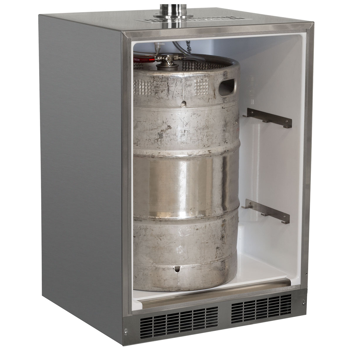 "Model: MO24BTSMRS | Marvel  Outdoor 24"" Twin Tap Mobile Beer Dispenser with Stainless Steel Door-Right Hinge"