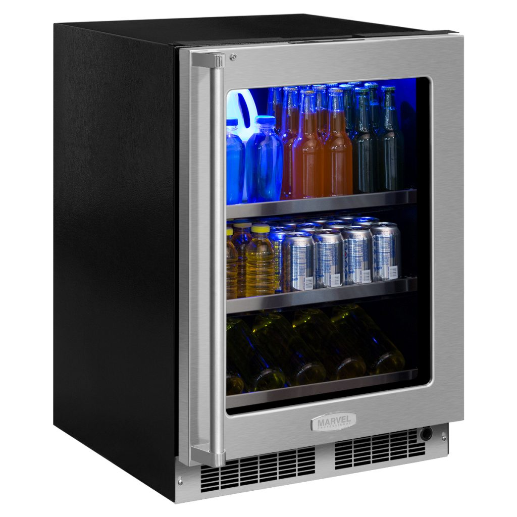 "Marvel  Marvel 24"" Beverage Center with Display Wine Rack-Integrated Right Hinge, Professional Handle"