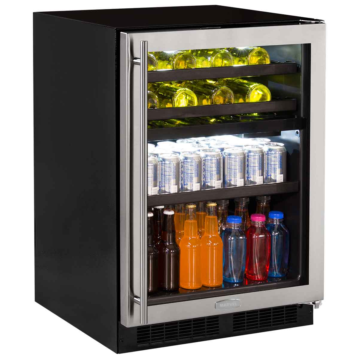 """Marvel  Marvel 24"""" Dual Zone Wine and Beverage Center-Panel-Ready Solid  Overlay Door Integrated Left Hinge"""