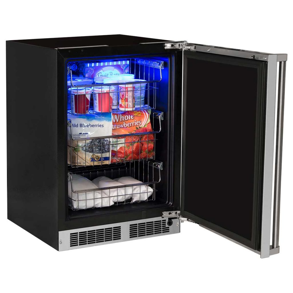 "Model: MP24FAS4LS | Marvel  24"" Marvel Professional Freezer-Solid Stainless Steel Door with Lock  Left Hinge"