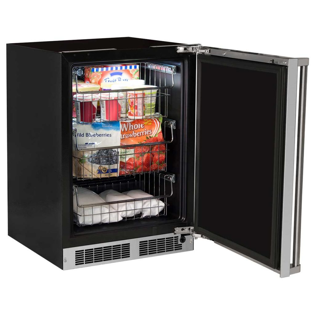 "Model: MP24FAS4LS | Marvel  24"" Marvel Professional Freezer-Solid Stainless Steel Door with Lock  Left Hinge"