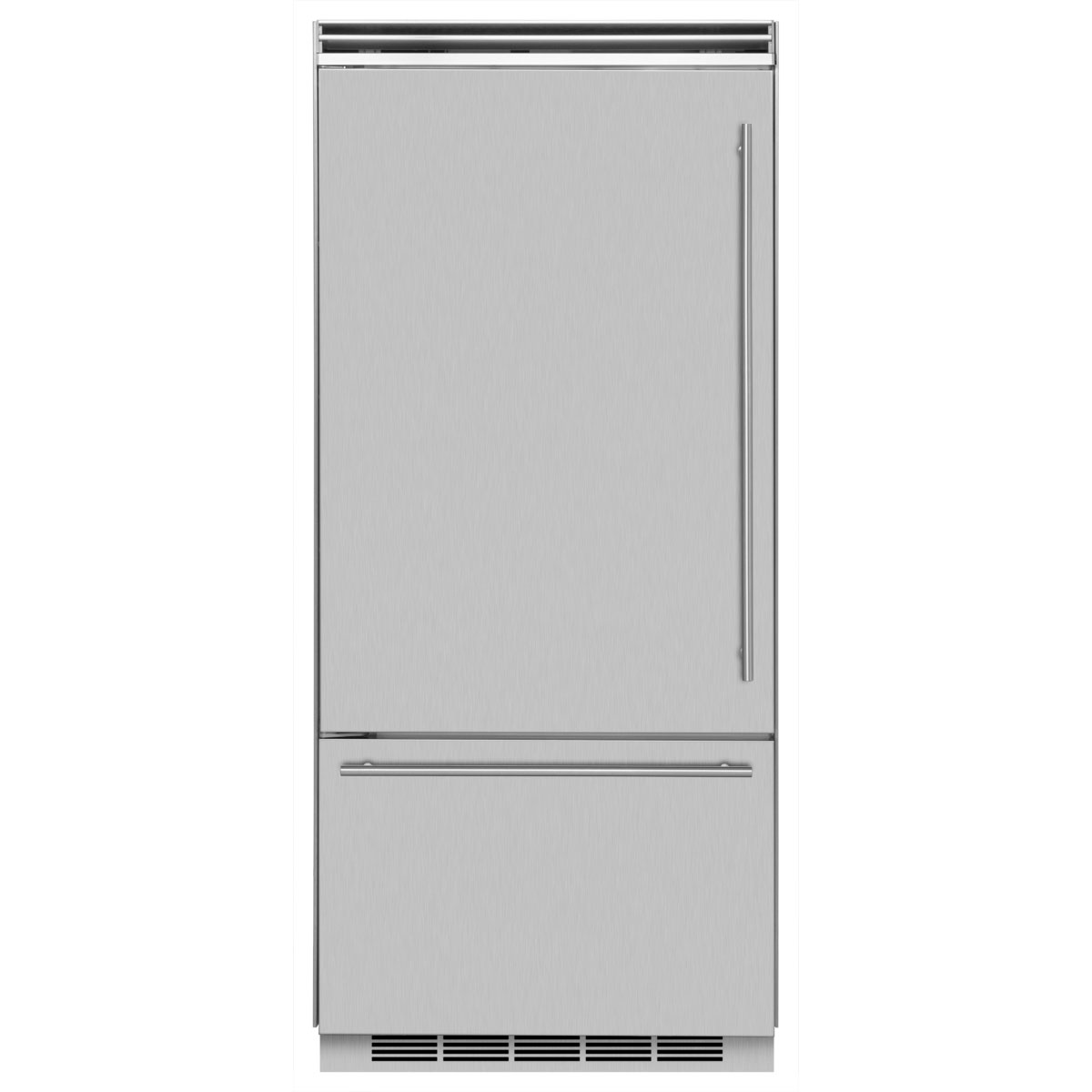 "Marvel  Marvel Professional Built-In 36"" Bottom Freezer Refrigerator- Solid Stainless Steel Door   Right Hinge, Slim Designer Handle"