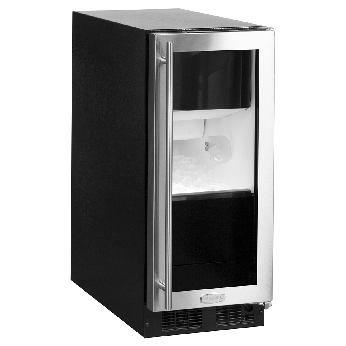 "Marvel  15"" Marvel Clear Ice Machine  and Glass Door-Gravity Drain  Stainless Framed Glass Door, Right"