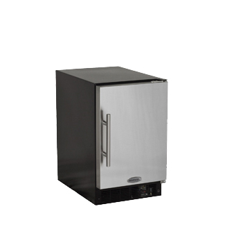 "Marvel  Marvel 15"" ADA Height Compact Crescent Ice Machine- Solid Black Door, Stainless Handle Left Hinge"