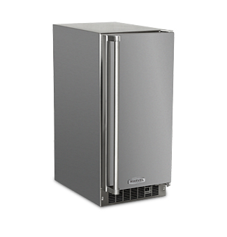 "Model: 25OiM-SS-F-R  | Marvel  Marvel Outdoor 15"" Crescent Ice Machine-Solid Stainless Steel Door   Right Hinge"