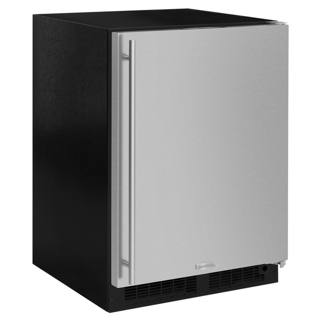 "Marvel  Marvel 24"" Refrigerator Freezer with Drawer Storage-Solid Stainless Steel Door  Right Hinge"