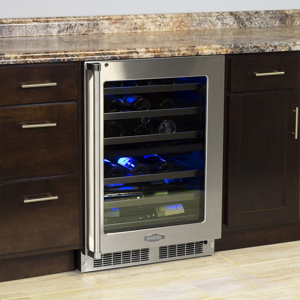 "Model: MP24WDG5RS | Marvel  Marvel Professional 24"" High Efficiency Dual Zone Wine Refrigerator-Integrated Right Hinge"