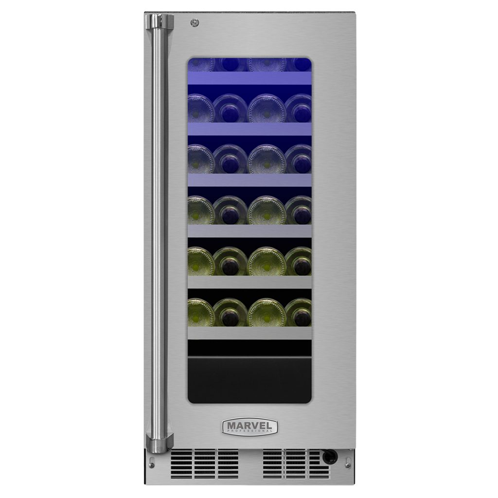 "Marvel  Marvel Professional 15"" High Efficiency Single Zone Wine Refrigerator- Stainless Frame"