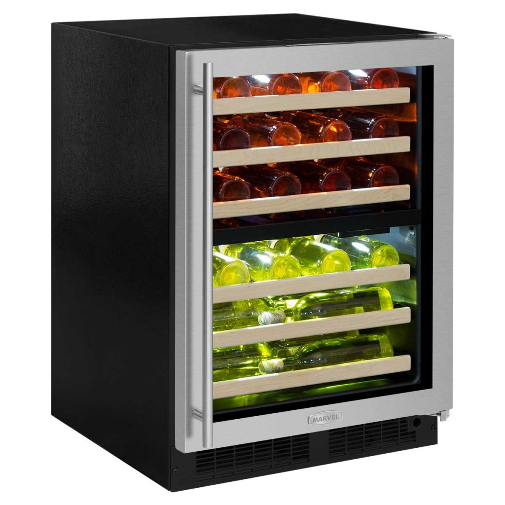 "Marvel  Marvel 24"" High Efficiency Dual Zone Wine Refrigerator-Smooth Black Frame, Glass Door"