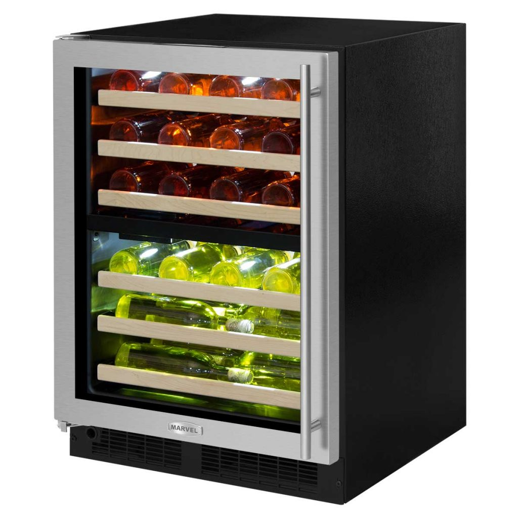 "Model: ML24WDG3RB | Marvel  Marvel 24"" High Efficiency Dual Zone Wine Refrigerator-Smooth Black Frame, Glass Door"