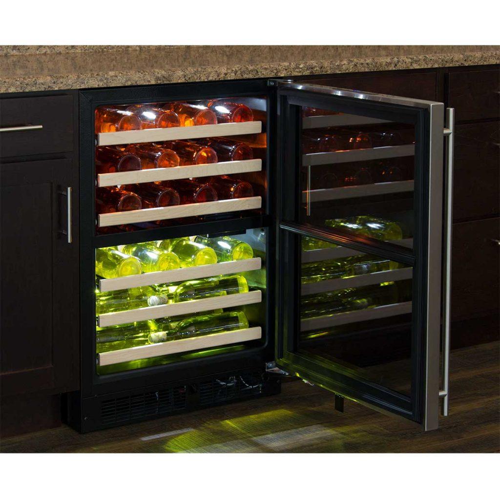 "Model: ML24WDF4LP | Marvel  Marvel 24"" High Efficiency Dual Zone Wine Refrigerator-Panel-Ready Framed Glass Door"