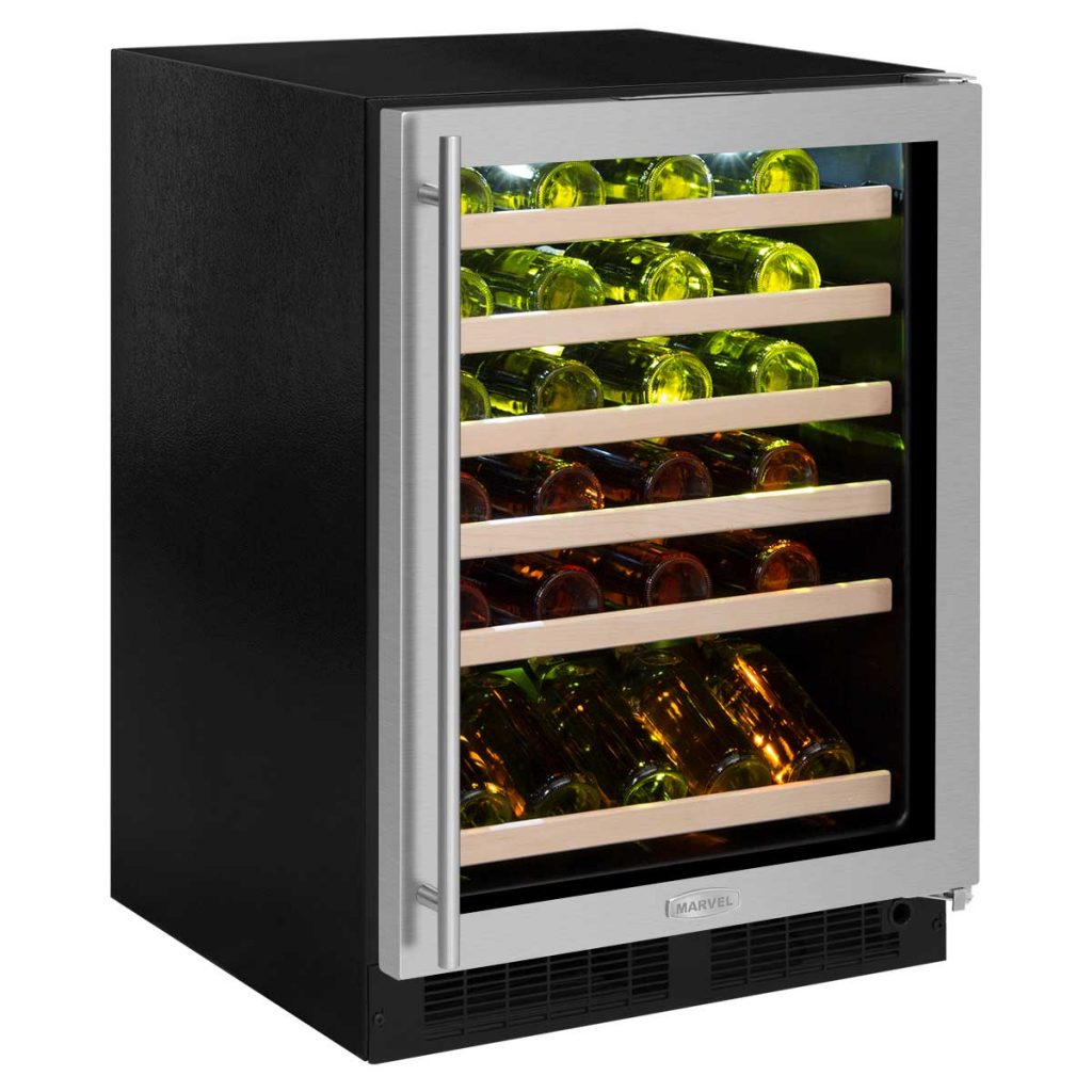"Marvel  Marvel 24"" High Efficiency Single Zone Wine Refrigerator- Stainless Steel Frame, Glass Door"