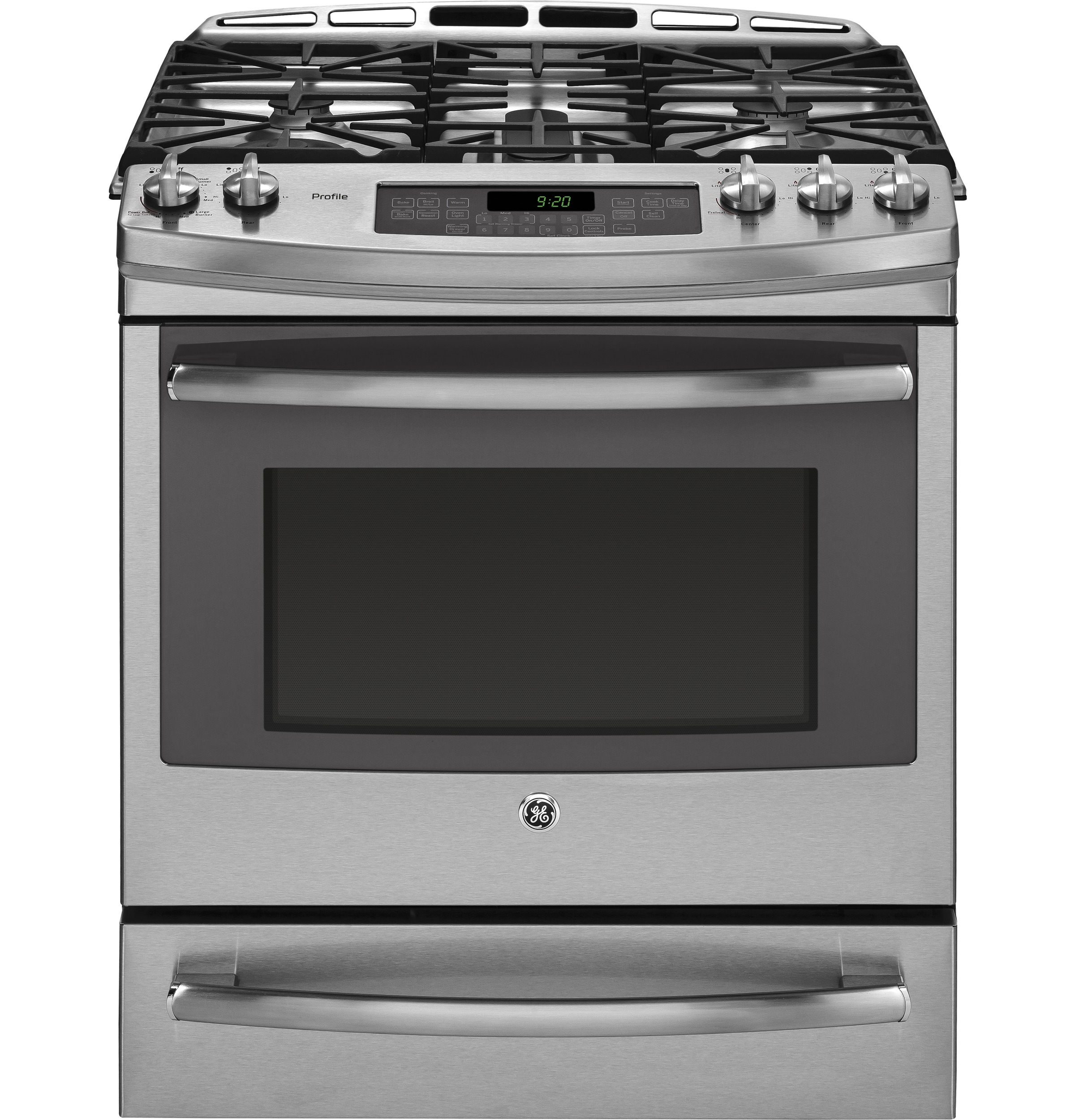 "GE Profile GE Profile™ Series 30"" Dual Fuel Slide-In Front Control Range with Warming Drawer"
