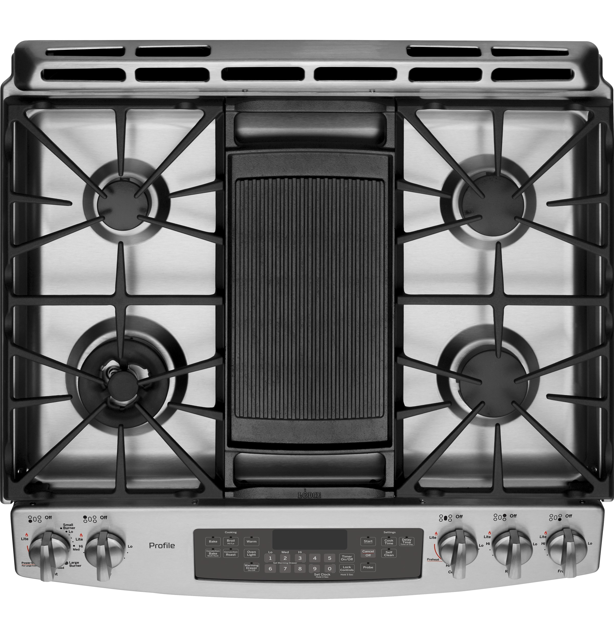 """Model: P2S920SEFSS   GE Profile GE Profile™ Series 30"""" Dual Fuel Slide-In Front Control Range with Warming Drawer"""