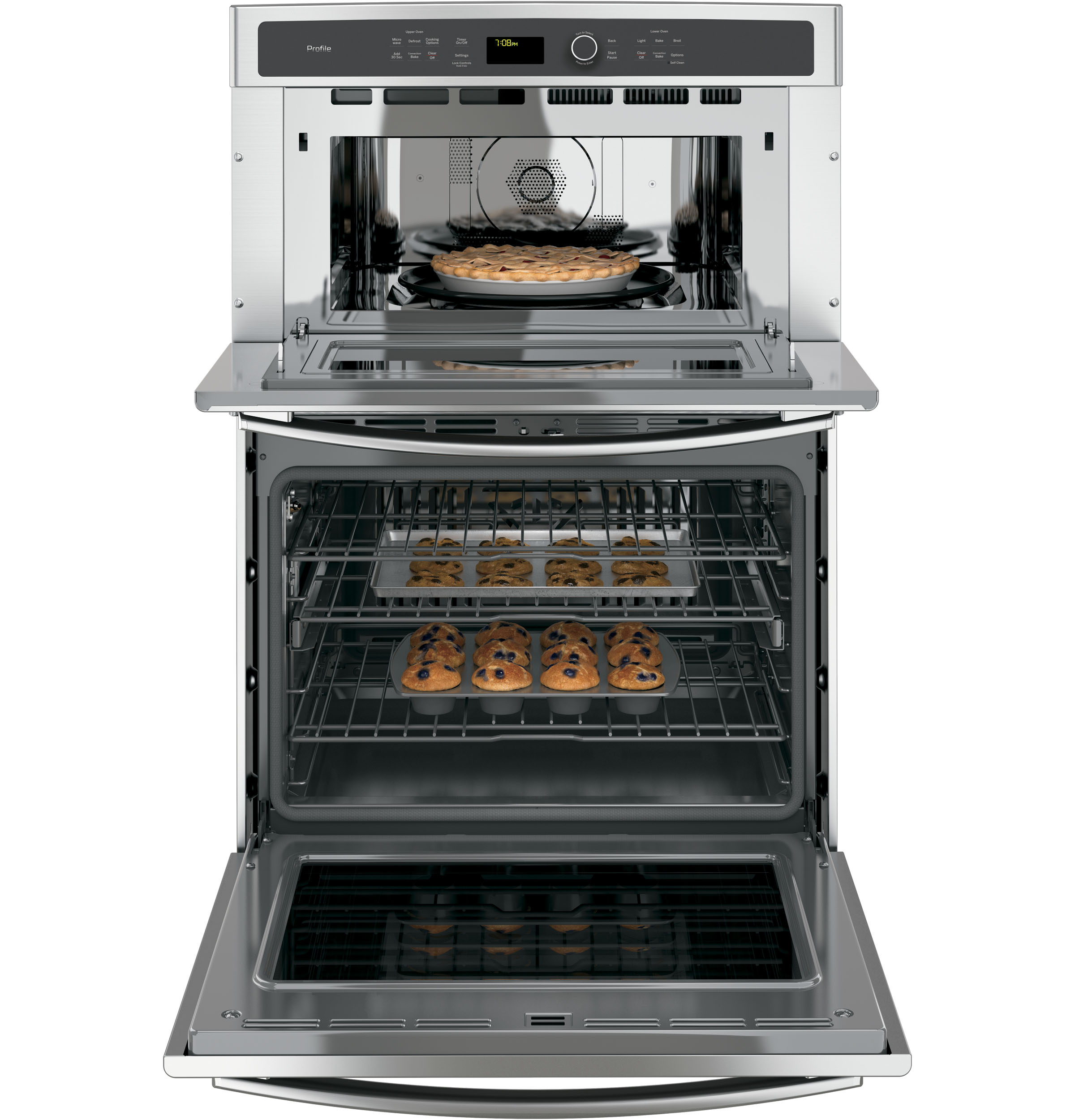 "Model: PT7800SHSS | GE Profile GE Profile™ Series 30"" Built-In Combination Convection Microwave/Convection Wall Oven"