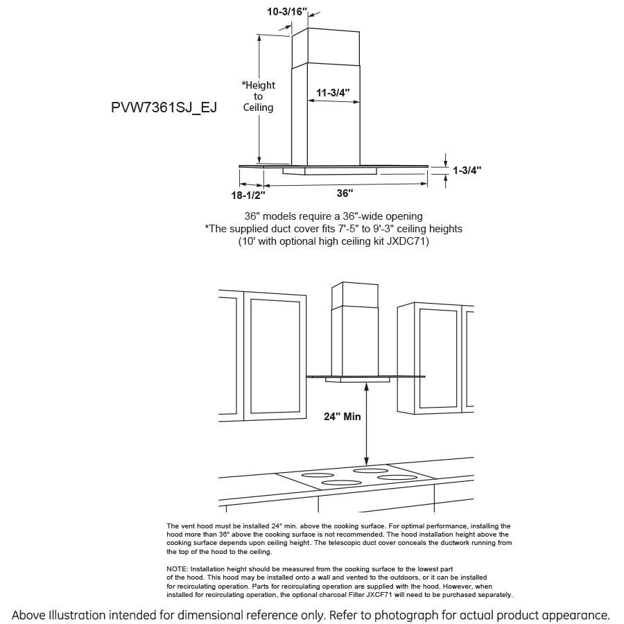"Model: PVW7361SJSS   GE Profile GE Profile™ Series 36"" Wall-Mount Glass Canopy Chimney Hood"