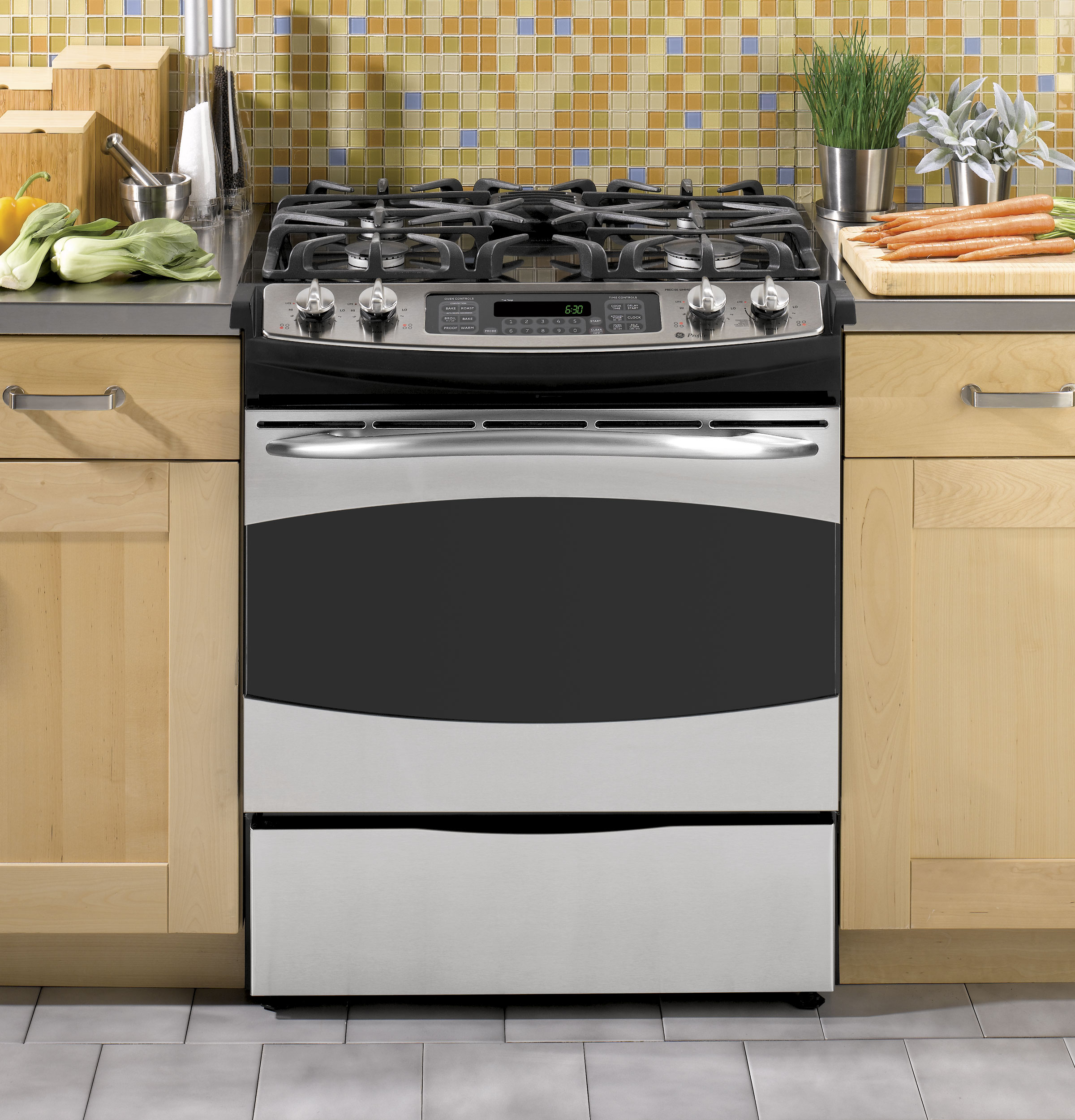 "GE Profile GE Profile™ 30"" Slide-In Gas Range"