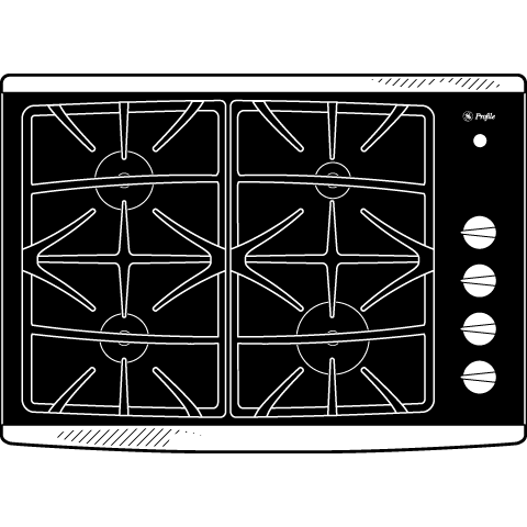 "Model: JGP940SEKSS | GE Profile GE Profile™ Series 30"" Built-In Gas Cooktop"