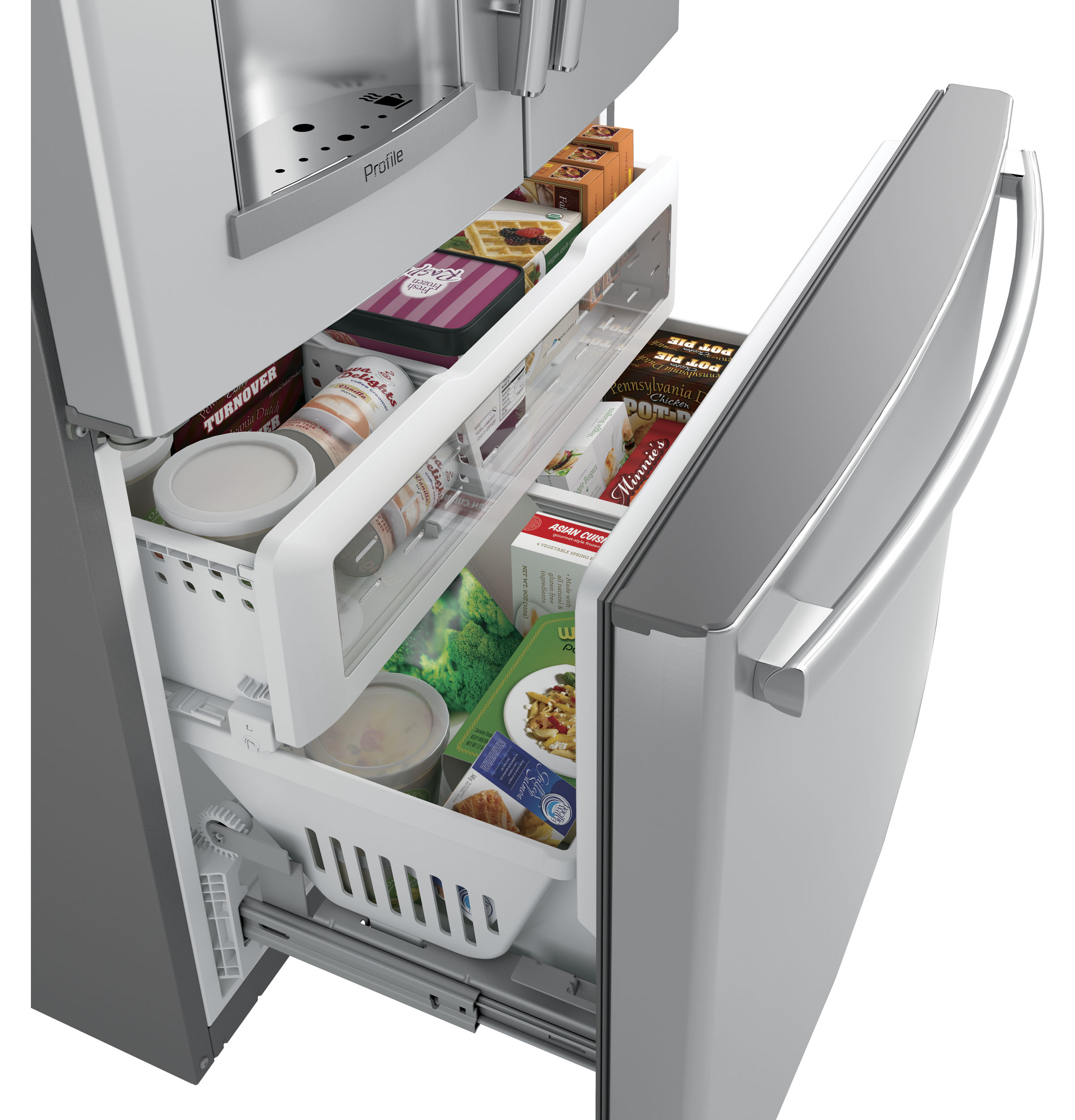 Model: PYE22PSKSS | GE Profile GE Profile™ Series ENERGY STAR® 22.2 Cu. Ft. Counter-Depth French-Door Refrigerator with Keurig® K-Cup® Brewing System