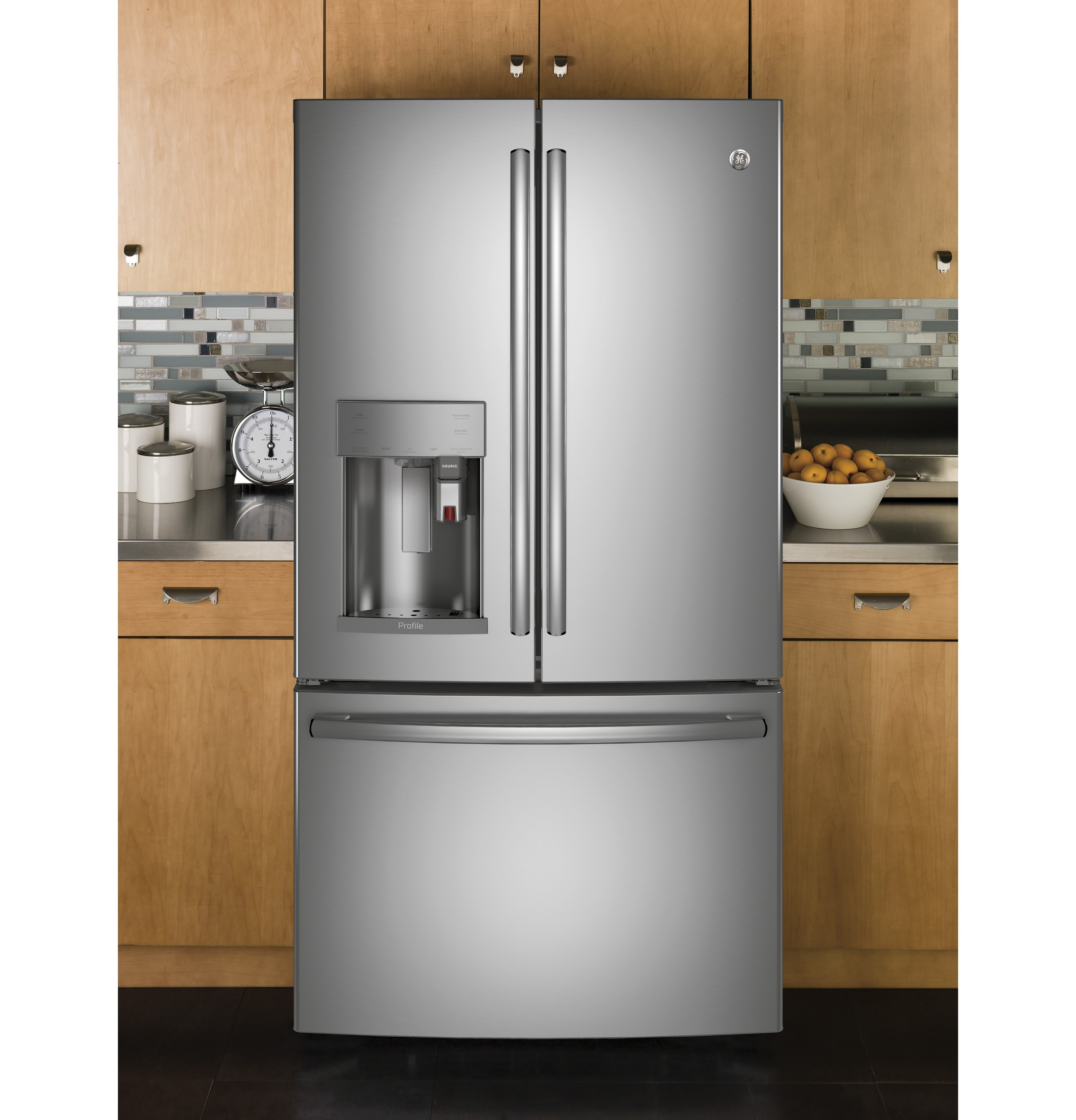 Model: PYE22PSKSS | GE Profile™ Series ENERGY STAR® 22.2 Cu. Ft. Counter-Depth French-Door Refrigerator with Keurig® K-Cup® Brewing System