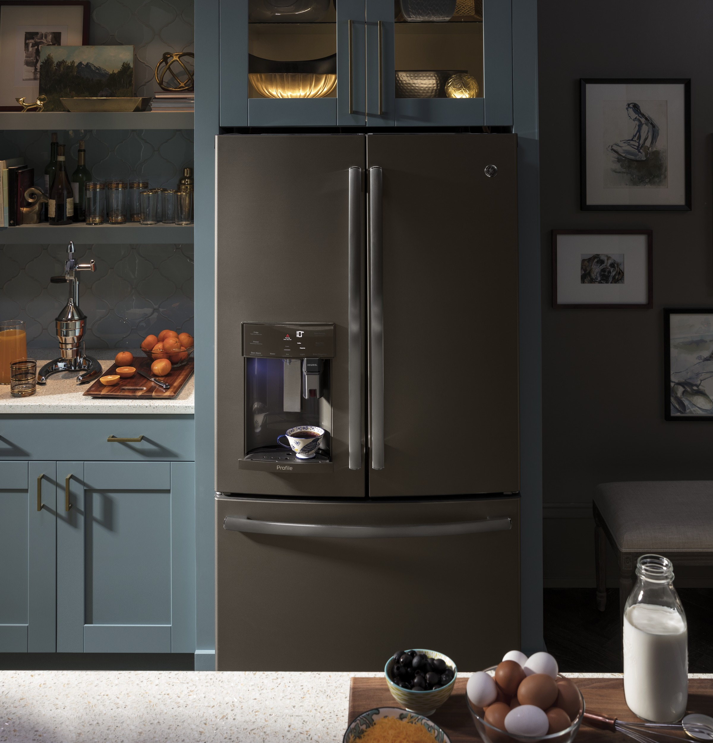 Model: PFE28PMKES | GE Profile GE Profile™ Series ENERGY STAR® 27.8 Cu. Ft. French-Door Refrigerator with Keurig® K-Cup® Brewing System