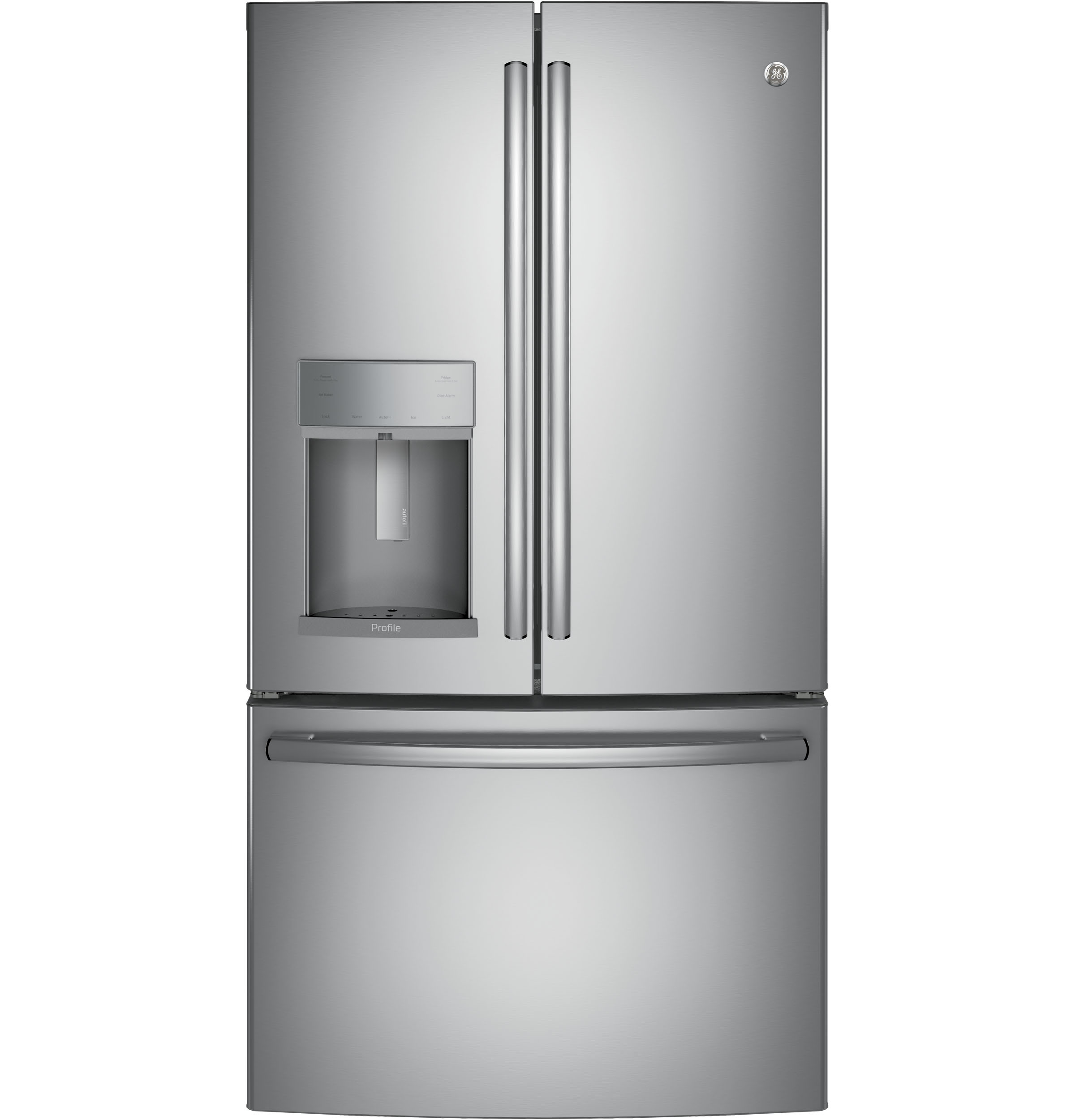 Model: PYE22KSKSS | GE Profile GE Profile™ Series ENERGY STAR® 22.2 Cu. Ft. Counter-Depth French-Door Refrigerator with Hands-Free AutoFill