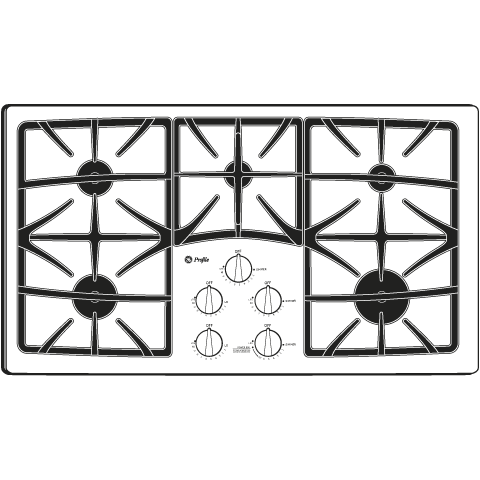 "Model: PGP966DETBB | GE Profile GE Profile™ Series 36"" Built-In Gas Cooktop"