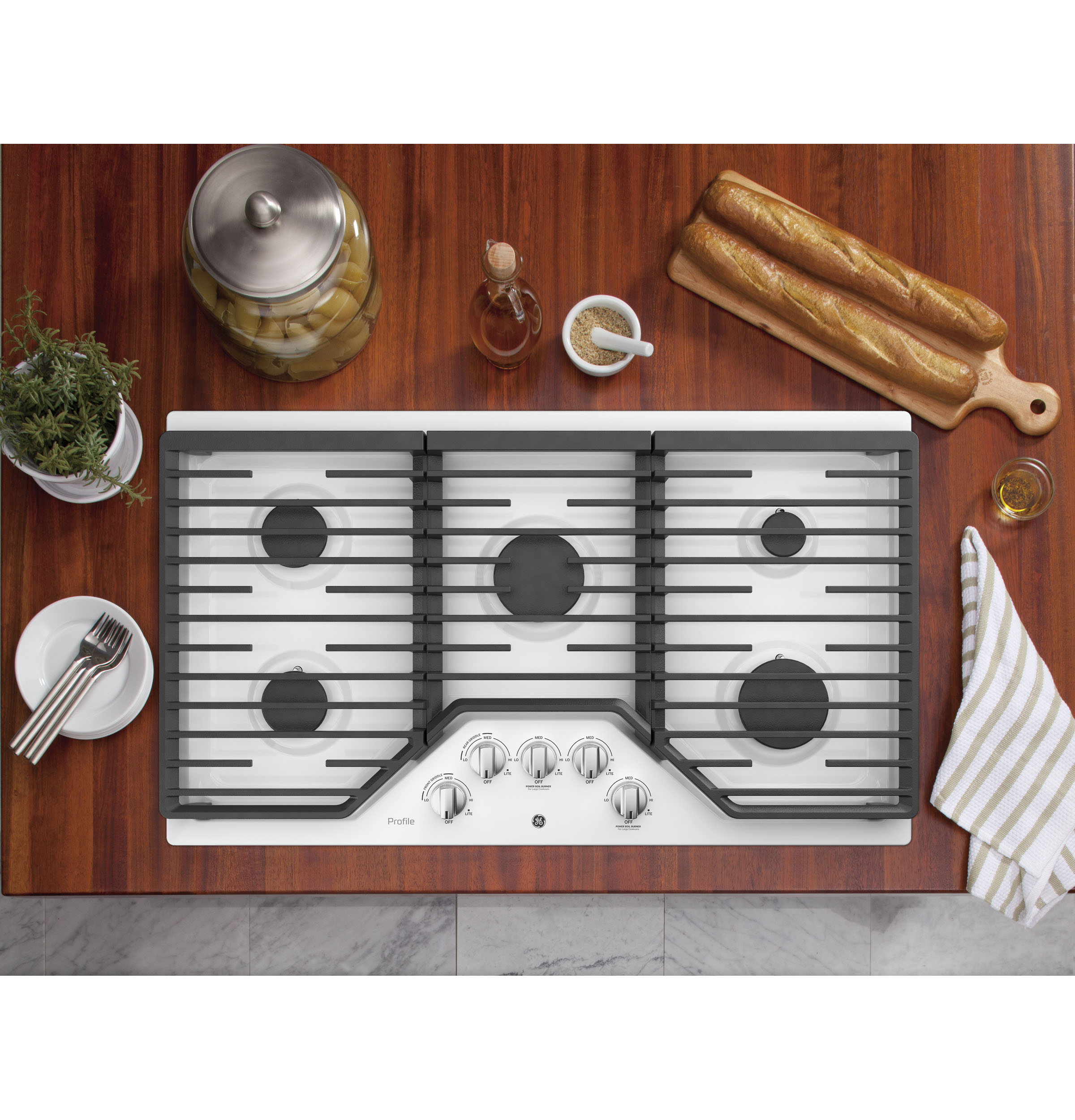 "Model: PGP7036DLWW | GE Profile GE Profile™ Series 36"" Built-In Gas Cooktop"