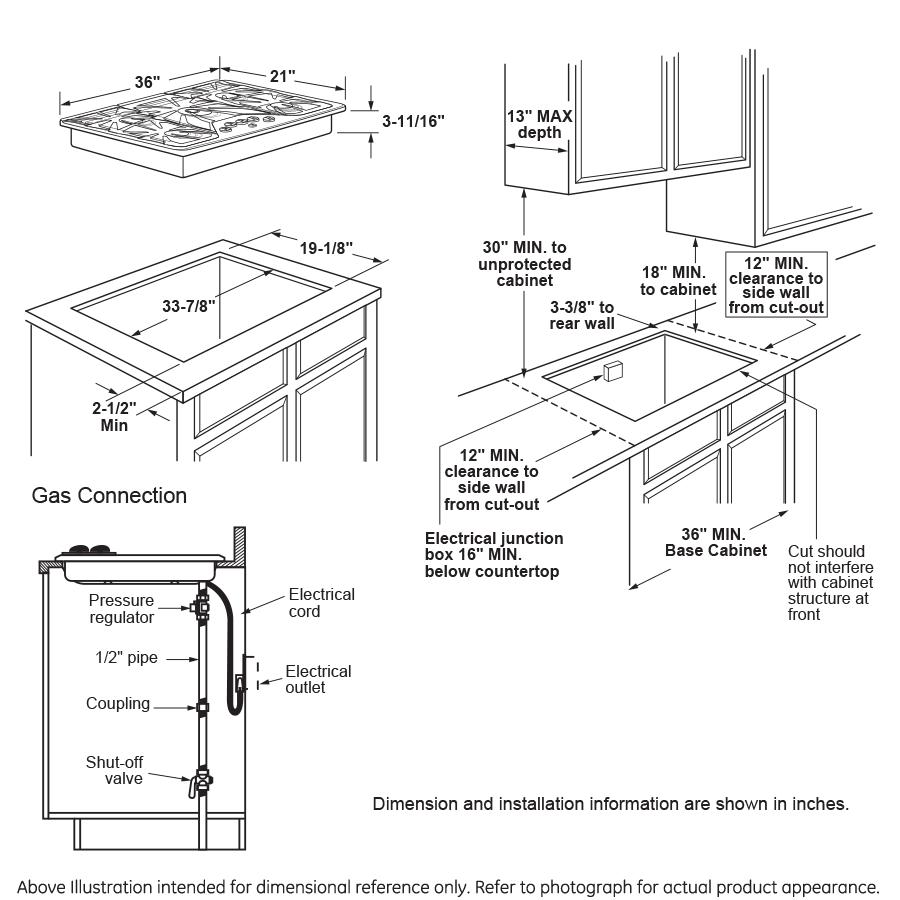 "Model: PGP7036DLBB | GE Profile GE Profile™ Series 36"" Built-In Gas Cooktop"