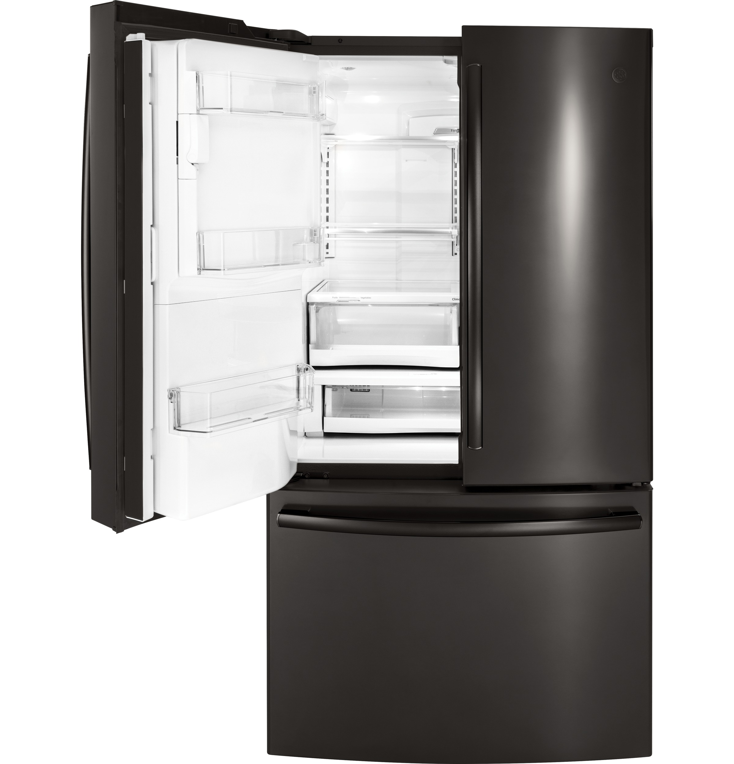 Model: PYE22PBLTS | GE Profile™ Series ENERGY STAR® 22.2 Cu. Ft. Counter-Depth French-Door Refrigerator with Keurig® K-Cup® Brewing System
