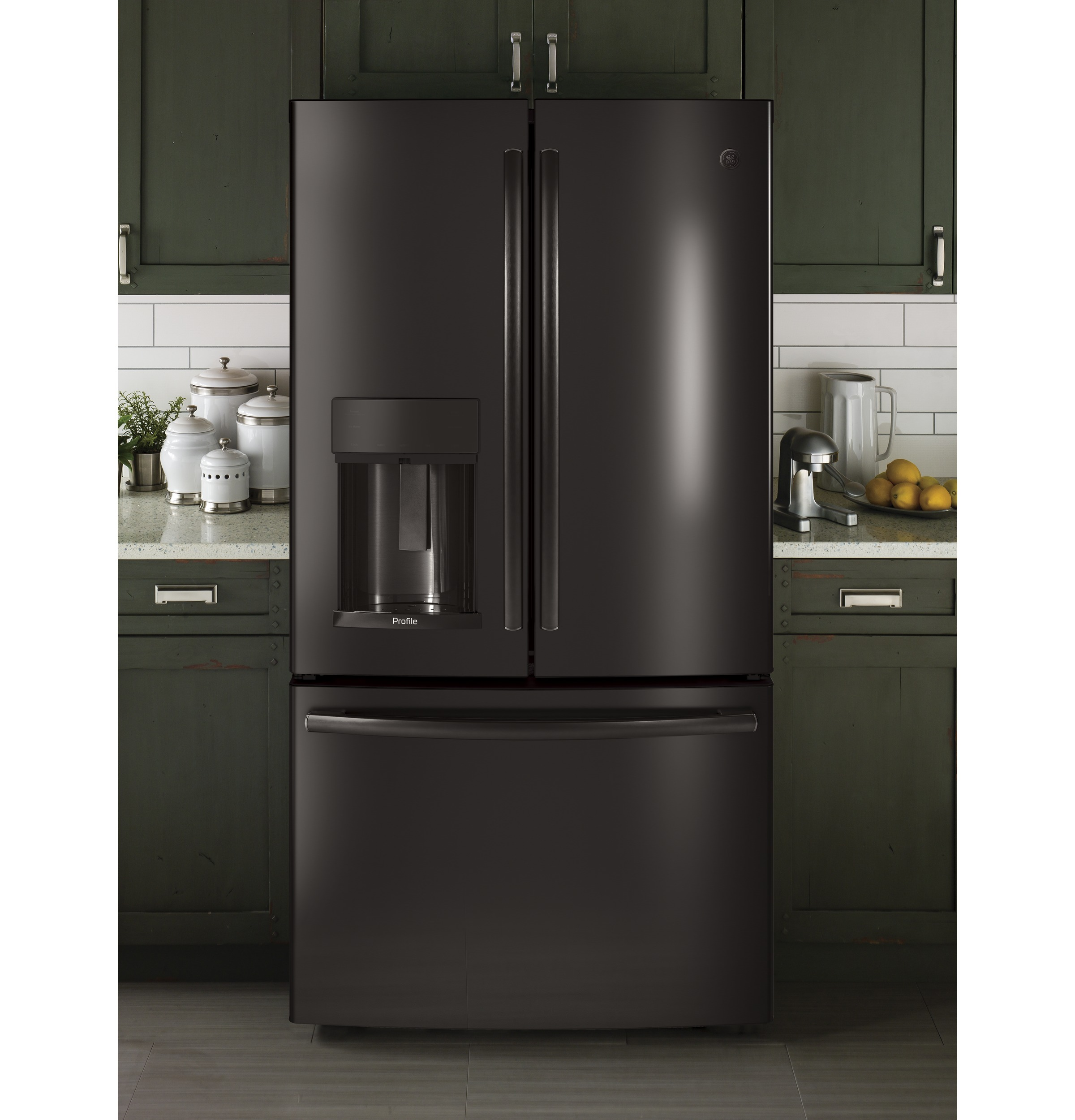 Model: PYE22KBLTS | GE Profile™ Series ENERGY STAR® 22.2 Cu. Ft. Counter-Depth French-Door Refrigerator with Hands-Free AutoFill