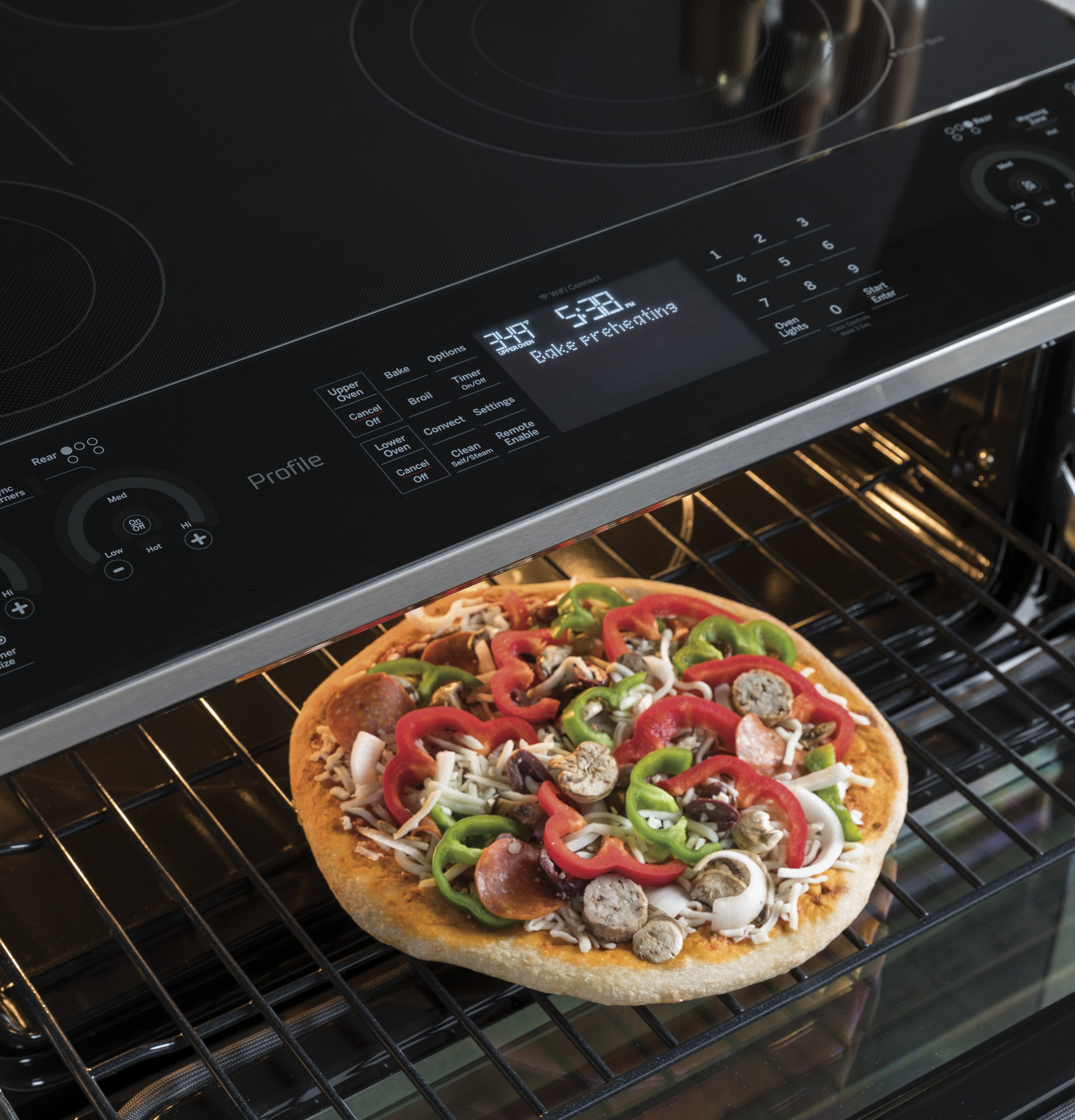 """Model: PS960ELES   GE Profile GE Profile™ Series 30"""" Slide-In Electric Double Oven Convection Range"""