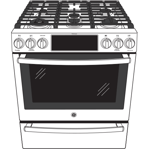 "Model: P2S930SELSS | GE Profile GE Profile™ Series 30"" Dual Fuel Slide-In Front Control Range"
