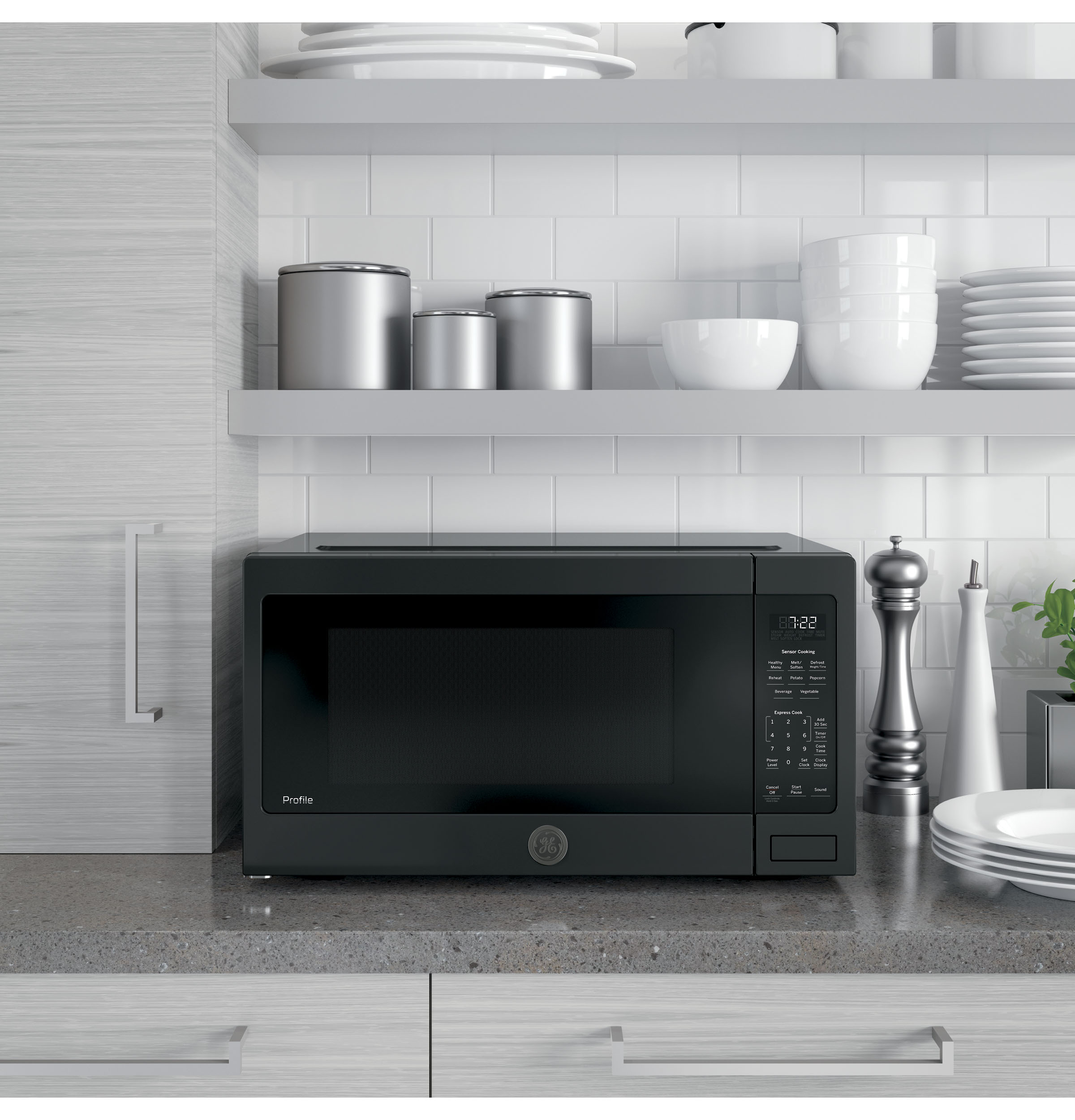 Model: PES7227DLBB | GE Profile™ Series 2.2 Cu. Ft. Countertop Sensor Microwave Oven