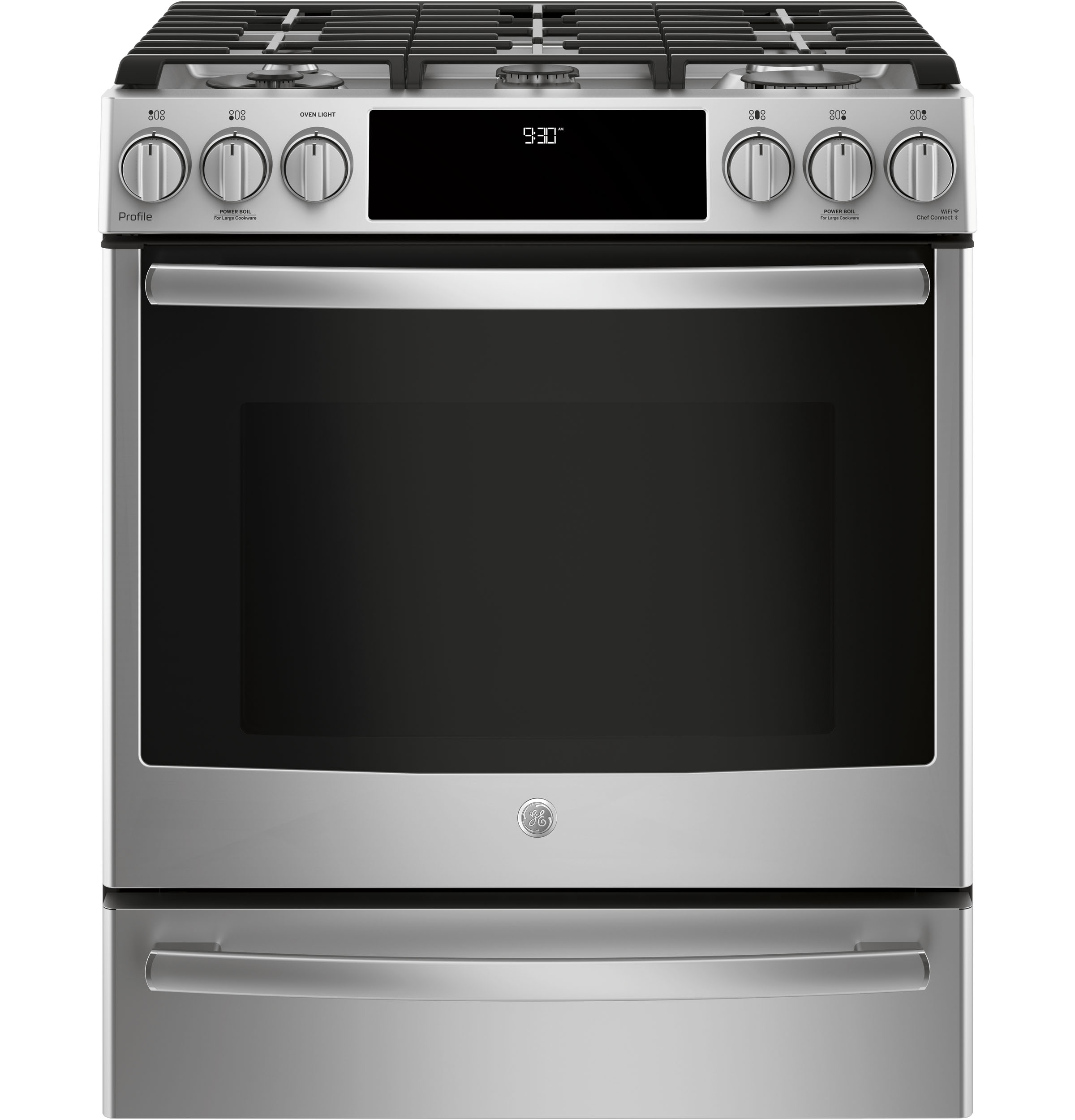 "GE Profile GE Profile™ Series 30"" Slide-In Front Control Gas Range"