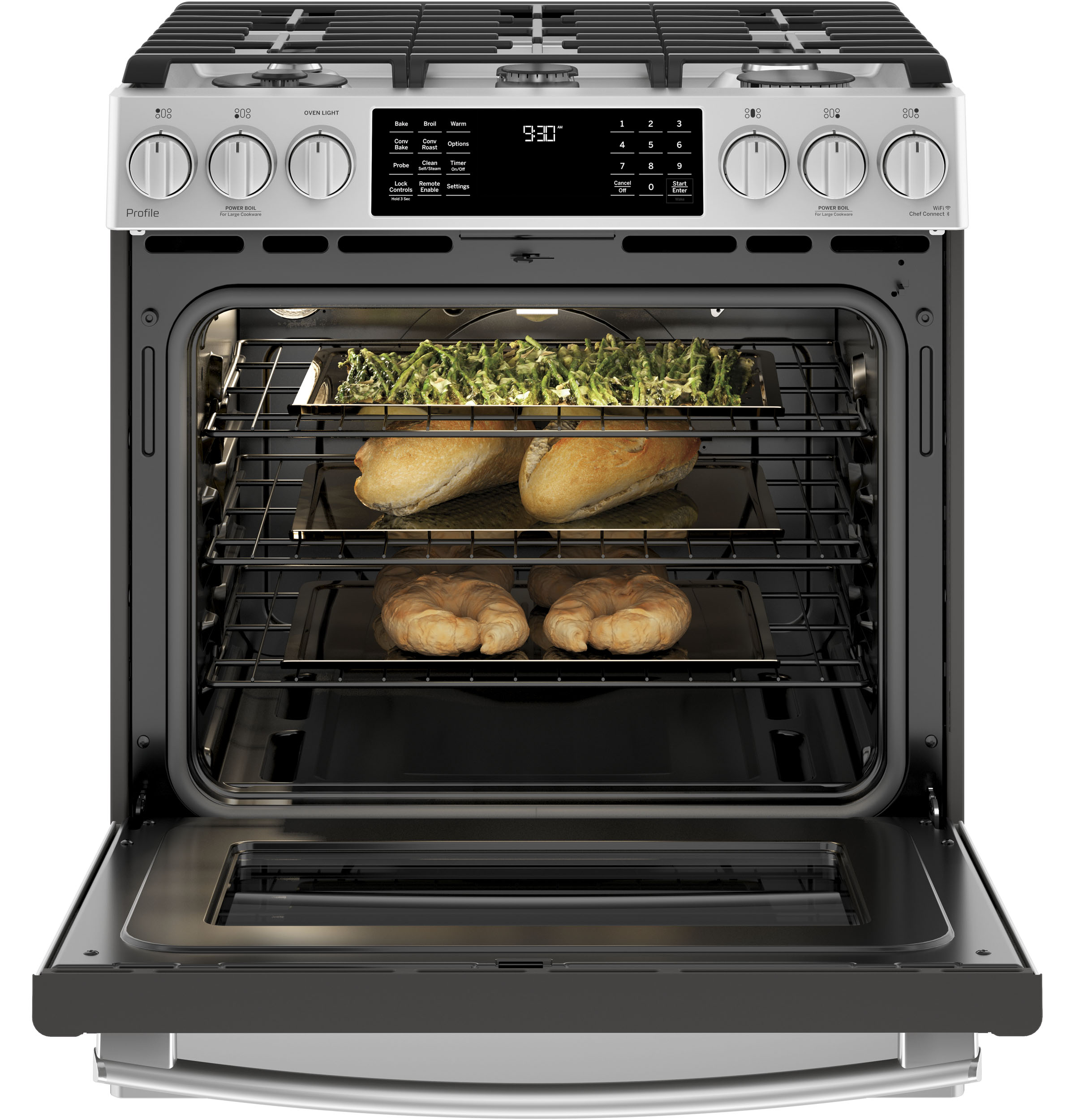 "Model: PGS930SELSS | GE Profile GE Profile™ Series 30"" Slide-In Front Control Gas Range"
