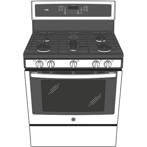 "Model: PGB911BEJTS | GE Profile GE Profile™ Series 30"" Free-Standing Gas Convection Range"