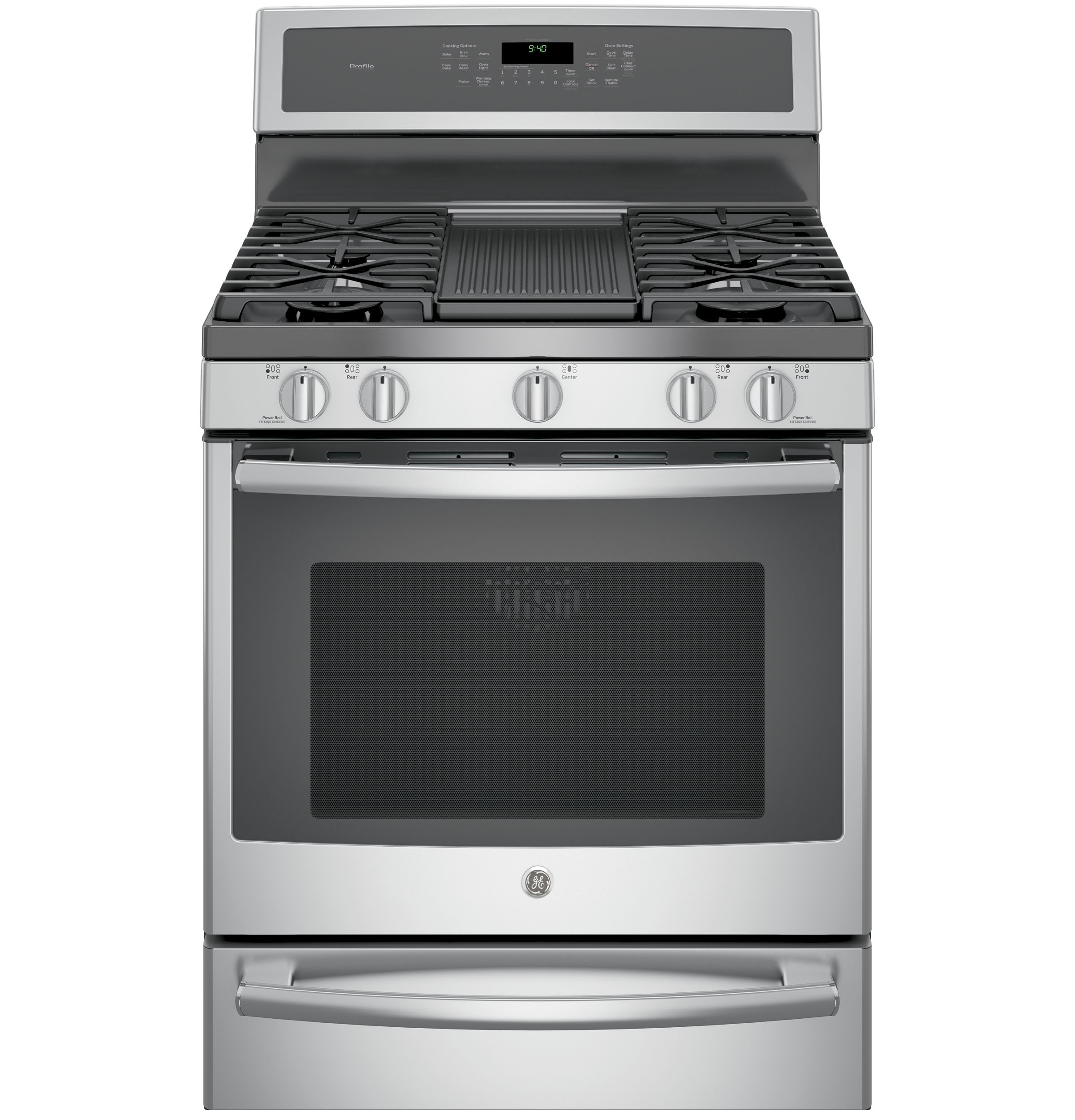"Model: P2B940SEJSS | GE Profile GE Profile™ Series 30"" Dual-Fuel Free-Standing Convection Range with Warming Drawer"