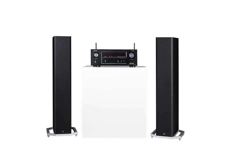 Model: Stereo Arrangement | Two BP9020 tower speakers and a Denon AVR-X2400H receiver