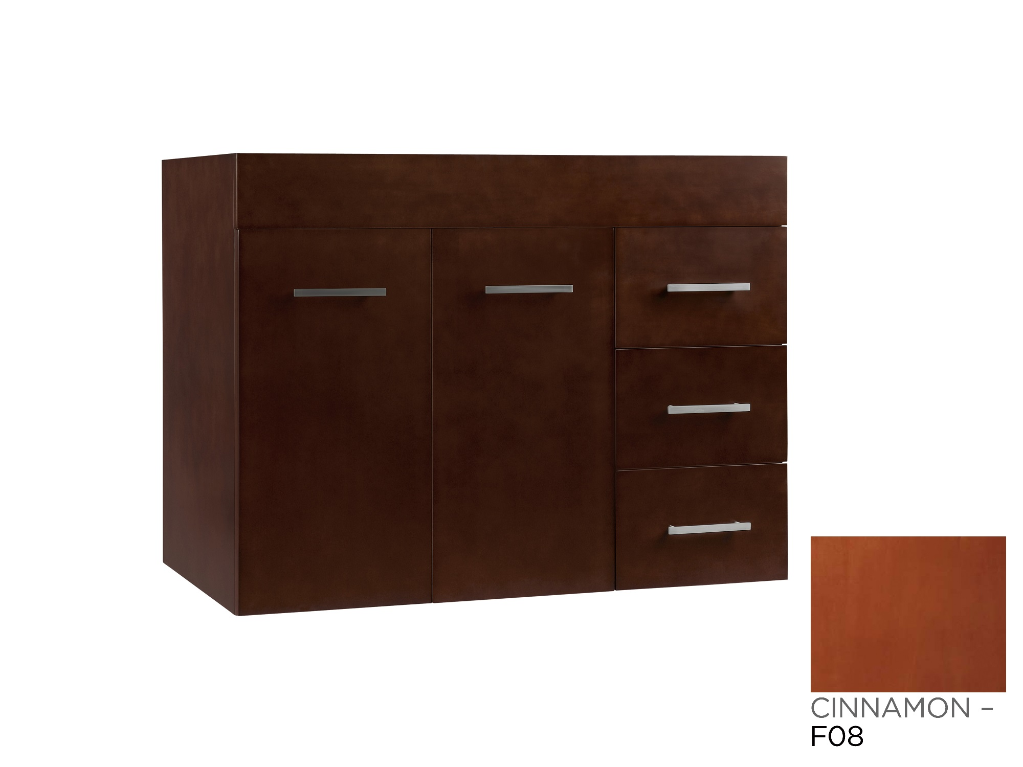 "Ronbow Bella 31"" Wall Mount Bathroom Vanity Base Cabinet in Cinnamon - Doors on Left"