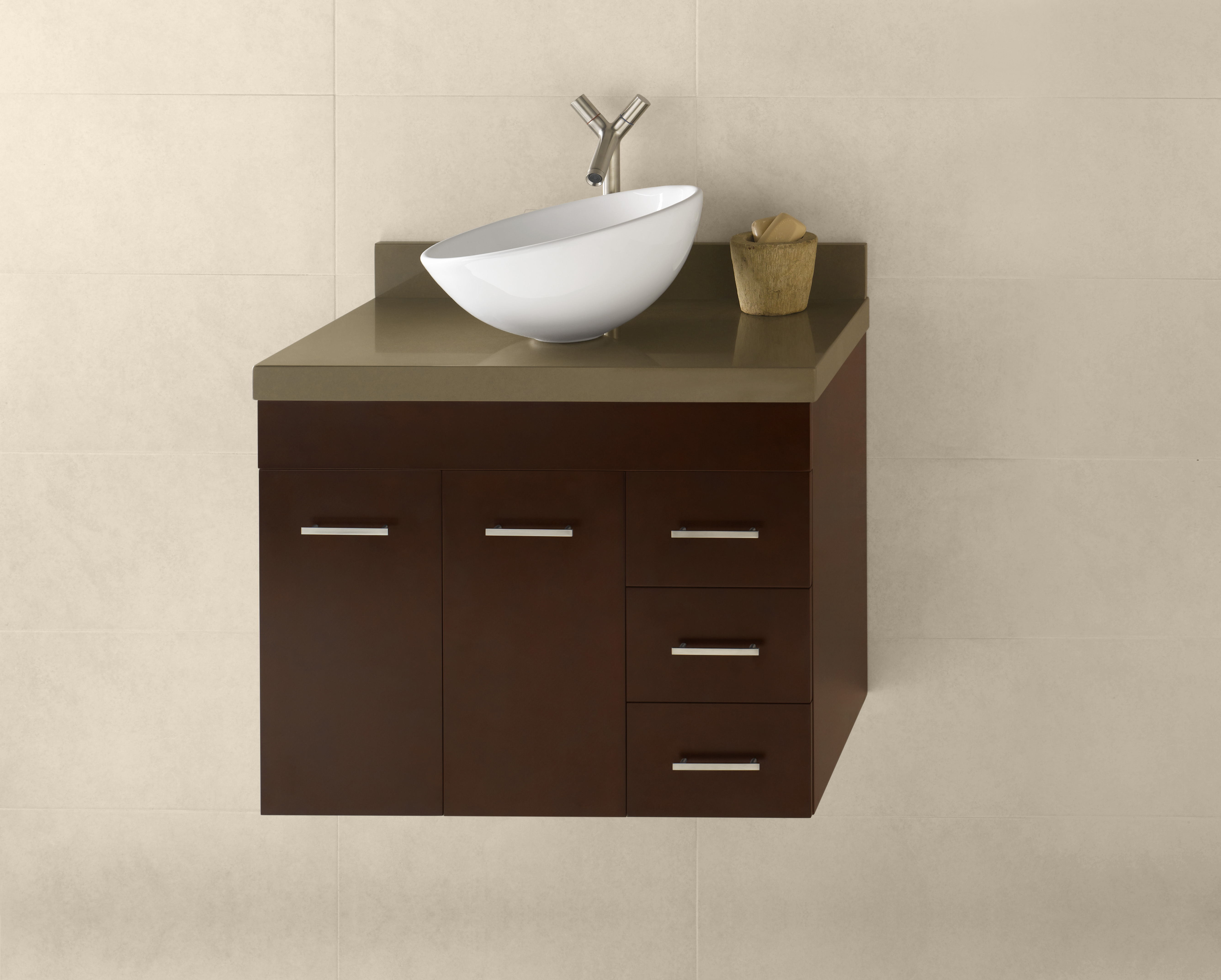 "Ronbow Bella 31"" Wall Mount Bathroom Vanity Base Cabinet in Dark Cherry - Doors on Left"