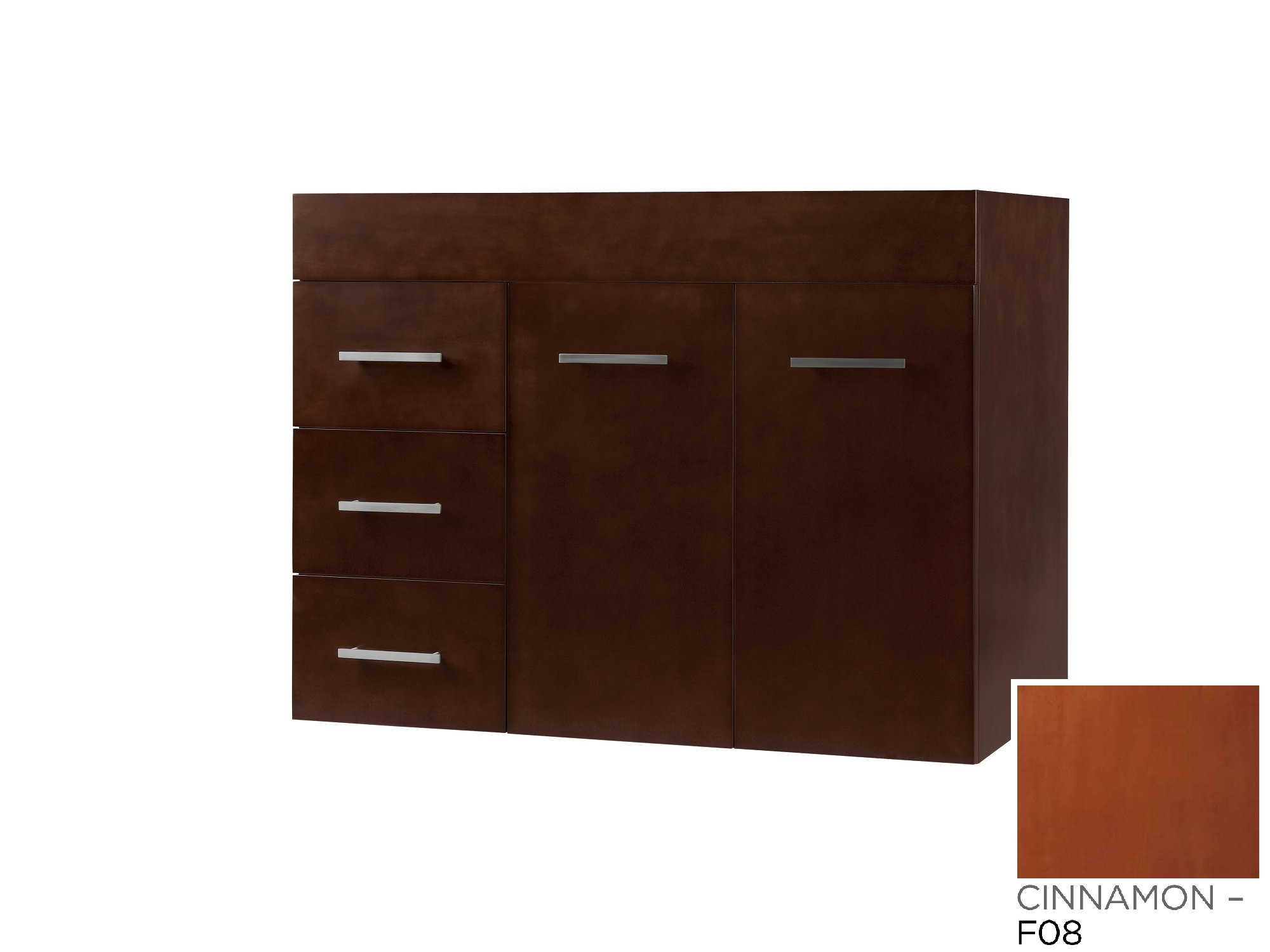 "Ronbow Bella 31"" Wall Mount Bathroom Vanity Base Cabinet in Cinnamon - Doors on Right"